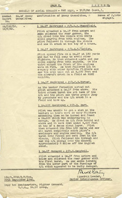242 Squadron Combat Report for 15 September 1940 - Page 2