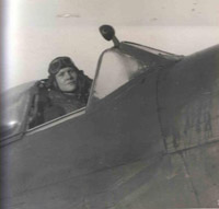 Flt Lt Harder in his Spitfire cockpit