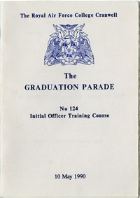 Programme for a graduation ceremony at RAF Cranwell, 1990