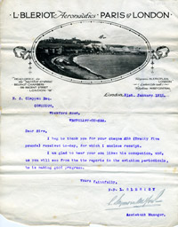 L Bleriot Aeronautics letter acknowledging receipt of £25.00 and commenting on pupil's progress, 31 November 1912