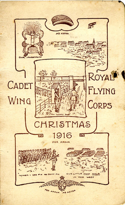 RFC Cadet Wing Christmas card sent from Denham Camp, 1916