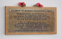 Memorial plaque dedicated to Flight Lieutenant Sarah Mulvihill, the first service woman to be killed in action in Iraq