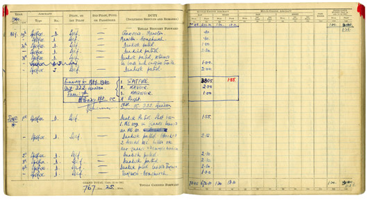 Douglas Bader's Log Book - Dunkirk, May and June 1940