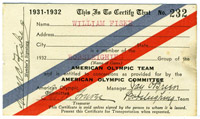 Winter Olympics pass for William Fiske, 1932