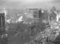 Bomb damage in the centre of Coventry, England, two days after the German Luftwaffe air raid on the night of 14 November 1940.