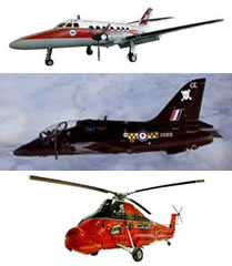 Vickers Varsity, BAe Hawk and Westland Wessex