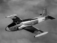 A Hunting Percival Jet Provost trainer in flight, 1960