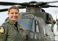 Merlin Helicopter Pilot Flt Lt Michelle Goodman (© MOD Crown Copyright)