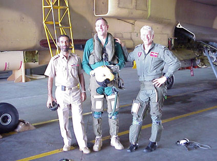 Darren Priday (centre), Manager of the RAF Museum's Michael Beetham Conservation Centre, while serving in Oman in May 2000 when he supported the RAFO Jaguar Upgrade Project.