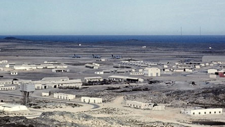 RAF Masirah with 3 Vulcan Bombers in the background circa 1970