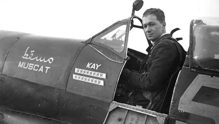 Noted Ace Squadron Leader J.A. Plagis in Supermarine Spitfire LFIX 'Muscat'