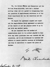 The Munich Agreement signed by Neville Chamberlain and Adolf Hitler