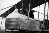 Air show pilot with female passenger in a Maurice Farman S7 Longhorn