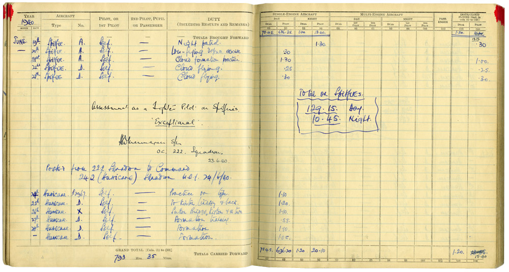 Douglas baders log book command of no242 squadron personal douglas baders log book command of no242 squadron pronofoot35fo Images