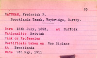 record card of Mr Frederick Phillip Raynham, 1911