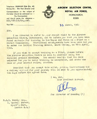 Aircrew selection letter, 1960