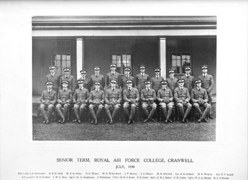 Douglas Bader and the Senior Term of Flight Cadets graduating from Cranwell