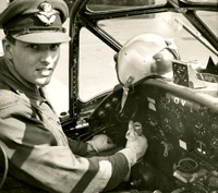 Pilot at the controls of the piston Percival Provost trainer, 1960