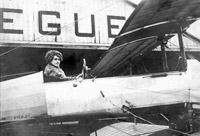 Winifred Buller in a Breguet biplane, circa 1912