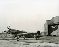 Supermarine Spitfire F.24 at Castle Bromwich, waiting for delivery by the ATA