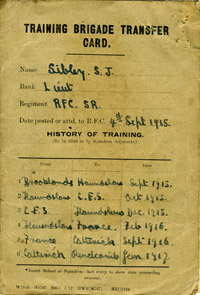 Training Brigade transfer card of Lt Samuel John Sibley, 1917