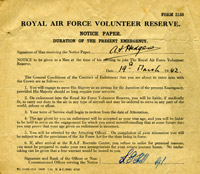 Those called-up during the Second World War joined the RAF Volunteer Reserve