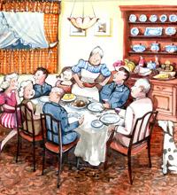 'Canadian hospitality' painting by Flight Sergeant Albert Kimberley