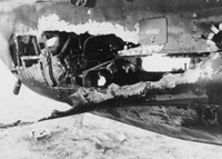 The shell-torn rear gunner's compartment of an 83 Squadron Handley Page Hampden Mk. I