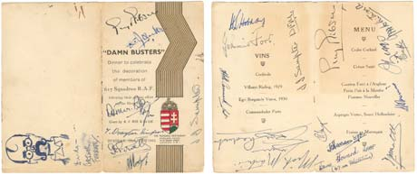 Menu signed by the Dam Busters