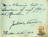 Autograph book entry for pioneer aviator Jules Nardini, 1912