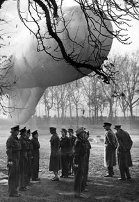 Barrage balloon crew under inspection