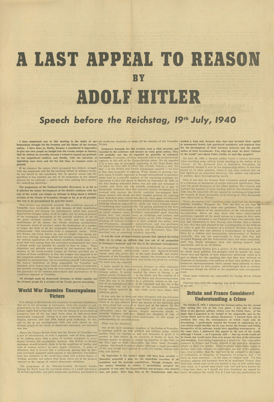 Reasons for hitler to introduce the