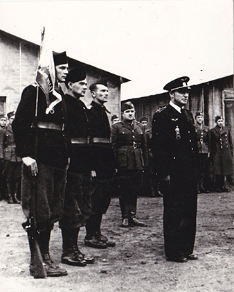 Agde, 1940. The Czechoslovak aviation group's camp in France. In the front is their leader Josef SCHEJBAL, later to become one of the Commanding Officers one of the leaders of 311 (Czechoslovak) Squadron, behind him to the left is Josef WINTER, assistant equipment officer for 310 (Czechoslovak) Squadron, Bohuslav KOVARÍK, a future radar operator of the 68 Night Fighter Squadron and Karel JANŠTA, future airgunner for 311 (Czechoslovak) Squadron. Archive of Tomáš Jambor.
