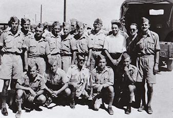 First transport of volunteers, future RAF members. Standing: first from the left Metodej ŠEBELA (pilot, 311 (Czechoslovak) Squadron, KIA, 18th November 1943), sixth from the left Jan CEKAL (pilot, 311 (Czechoslovak) Squadron), eight from the left Milan MALÝ (pilot, 312 (Czechoslovak) Squadron), tenth from the left Karel ŠTEFÁNEK (mechanic, later a pilot, 313 (Czechoslovak) Squadron), eleventh from the left Stanislav TOCAUER (pilot, 312 (Czechoslovak) Squadron), sitting: fourth from the left František HAMBÁLEK (mechanic, 311 (Czechoslovak) Squadron)