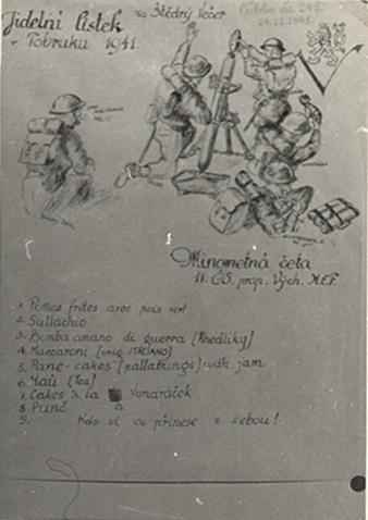 Christmas Eve dinner menu of the Czechoslovak field kitchen in Tobruk, 24th December 1941