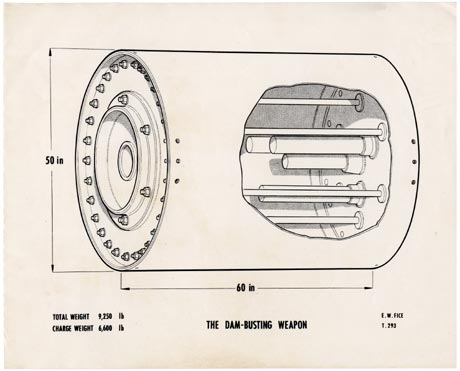 Diagram of the UPKEEP mine, the bouncing bomb