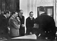 British Prime Minister, Neville Chamberlain strived for a peaceful settlement