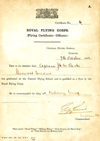 Central Flying School graduation certificate of Capt John Harold Whitworth Becke, 7 October 1912
