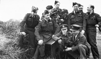 Guy Gibson with his dog and his crew RAF Scampton May 1943
