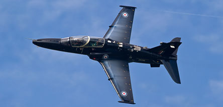 BAE Systems' Hawk Jet Fighter in flight over Warton, Lancashire